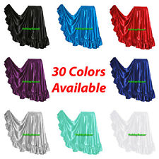 Flamenco Satin Full Circle Belly Dance Skirts Ruffle Tribal Gypsy ATS | 30 Color