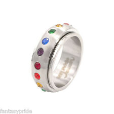 Gay Pride Rainbow Gem Spinning Stainless Steel Ring - Size 5-12
