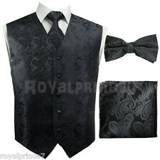 CHARCOAL XS-6XL Paisley Tuxedo Suit Dress Vest Waistcoat Bow Tie Neck tie Hanky