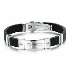 Stainless Steel Silicone Rubber Cross Bracelet Screw Engraved Two Tone Bangle