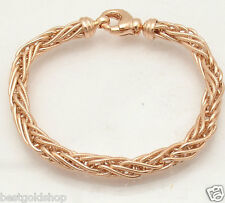 Textured Round Spiga Wheat Chain Bracelet Necklace 14K Rose Gold Clad Silver