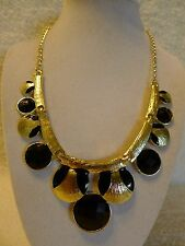Round Black Pink & Blue Gold Beads Jointed Bib Necklace/Earring Hook