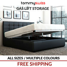 TOMMY SWISS: DELUXE KING, QUEEN & DOUBLE GAS LIFT STORAGE PU LEATHER BED FRAME