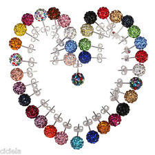 Austrian Crystal Pave Disco Clay Ball Beads Steel Stud Earrings 10 mm 11 Colors