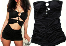 """NEW! """"Arden B"""" Sexy, Stretching Black, Padded Cut Out Clubwear Tunic Top XS & S"""