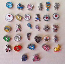 Floating charms-Baby Feet-Love Grandkids-Rattle-Girl-Boy-Sister-Carriage-Son