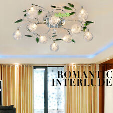 Crystal Leaves Aluminium Glass Balls Shade Ceiling Light Pendant Lamp Chandelier