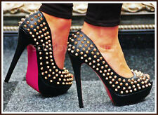 Ladies Black High Heel Platform Peep Toe Gold Studs Spikes Slim Fit Faux Leather