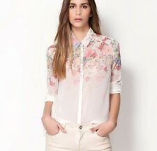 New Fashion Size Summer Women Floral Chiffon Long Sleeve Blouse T Shirt Tops