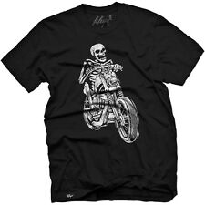 Men's Fifty5 Clothing Skeleton Biker T Shirt Black Rider Skull Motorcycle