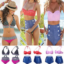 Fashion Cutest Retro Swimsuit Swimwear Vintage Pin Up High Waist Bikini Padded