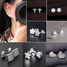 Cool Women Men Silver Plated Square Star Triangle Frosted Ear Stud Earrings