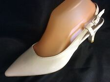 KITTEN HEEL SLING BACK HEELED SHOE - WHITE - Size's 3.5-4-5-6-6.5-7