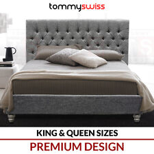 TOMMY SWISS: PREMIUM King & Queen Size Fabric Upholstered Grey Button Bed Frame