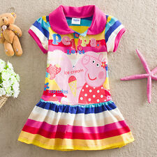 New Girls Kids Rainbow Sleeve Peppa Pig Striped Top Tunic Dress SZ 18M-6