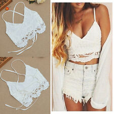 Frauen Crochet Backless Behälter Lace Vest Bluse Shirt Bralette Bra Crop Top