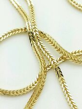 """14k Solid Yellow Italian Gold Square Box Wheat Chain Necklace 18"""" 20"""" 24"""""""