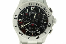 Men's Movado 0605968 Junior Sport Stainless Steel Chronograph Black Dial Watch