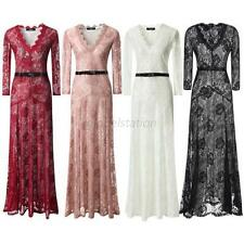 Womens Sexy Lace Party Casual Prom Evening Cocktail Slim Long Vintage Lace Dress