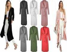 ITALIAN Waterfall Crepe Coat Belt Long Sleeve Jacket Cape Cardigan Trench UK