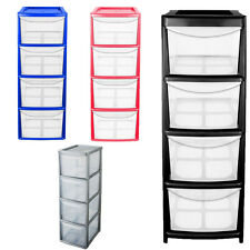 Large 4 Drawer Plastic A4 Tower Storage Unit Homes/Office/Bedroom Tool Storage