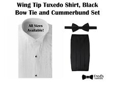Mens White Wing Tip Tuxedo Shirt, Black Bow Tie and Cummerbund Set ALL SIZES