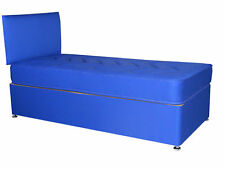 3FT SINGLE BLUE BOYS DIVAN BED, BLUE DIVAN BED CHILDRENS BED AND MATTRESS