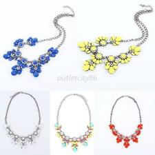 New Trendy Multi-Color Flower Pendant Chain Choker Jewelry Crystal Bib Necklaces