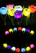 Outdoor Yard Garden Path 6S Way Solar CA Power LED Tulip Landscape Flower Lights