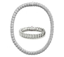 Roberto Coin Cobra Pave 18k White Gold Diamond Necklace Bracelet Set 45.5ct