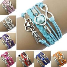 NEW Infinity Love Heart Tower Friendship Antique Silver Leather Charm Bracelet