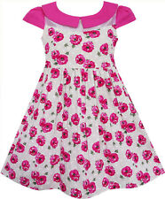 Sunny Fashion Girls Dress Rose Flower Turn-down Collar Lace Pink Size 4-10