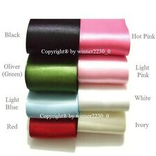 """2"""" 50mm Wide Double Face Satin Wedding Car Woven Edge Ribbon WHITE RED PINK BLUE"""