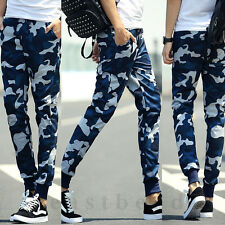 Mens Military Blue Camouflage Camo Casual Pants Joggers Sport Sweatpants Trouser