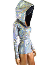 Silver Holographic Long Sleeve Full Length Metallic Top NWT Rave Festival