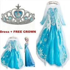 Frozen Princess Dress Girl Queen Elsa Cosplay Costume Party Fancy Dress