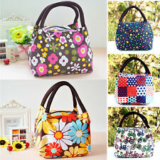 Womens Outdoor Canvas Portable Lunch Bag Casual Handbag Picnic Totes Carry Box
