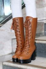 Women Platform Lace Up Block Chunky Heel Motorcycle Riding Mid Calf Boots Shoes