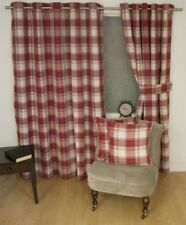 JACQUARD TARTAN CHECK RED LINED RING TOP CURTAINS DRAPES 9 SIZES
