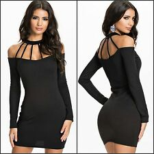 Sexy Women's Plus Size Mini Black Mini BodyCon Halter Neck Party Clubbing Dress