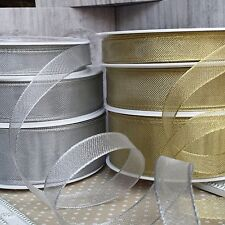 15 / 25 / 38mm Gold or Silver Fine Wired Mesh Ribbon. Christmas, Wedding, Craft