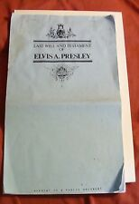 Rare ELVIS PRESLEY Last Will And Testament March 3rd 1977 Complete!
