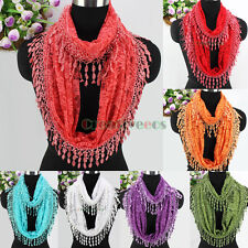 Fashion Daisy Flower Lace With Tassel Infinity 2-Layer Scarf Lady Lace Scarves