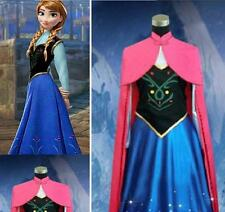 Frozen Anna Cosplay Dress cloak Princess Cosplay party Costume Adult Size NEW UK