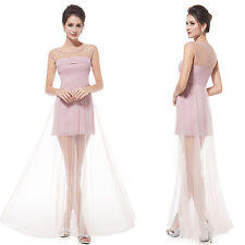Ever Pretty Elegant Semi-Sheer Pink Maxi Cocktail Party Dress 08442