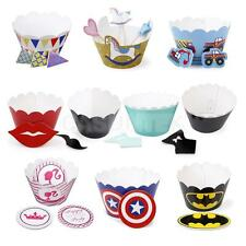 Various Pattern 12 Paper Muffin Cup Cake Cupcake cases Wrappers Border+12 Topper
