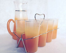 West Virginia Glass Pitcher & 8 Glasses w/Gold-tone Caddy