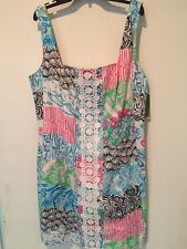 Lilly Pulitzer NWT IDI Shift Dress Osterville Patch Pink Blue $188 sz 12 #84325