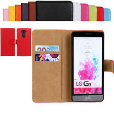 New Luxury Genuine Leather Wallet Stand Flip Card Slot Case Cover For LG Phone
