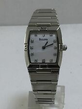 Women's Bulova 96P000 Stainless Steel With Diamond Markers MOP Dial Watch